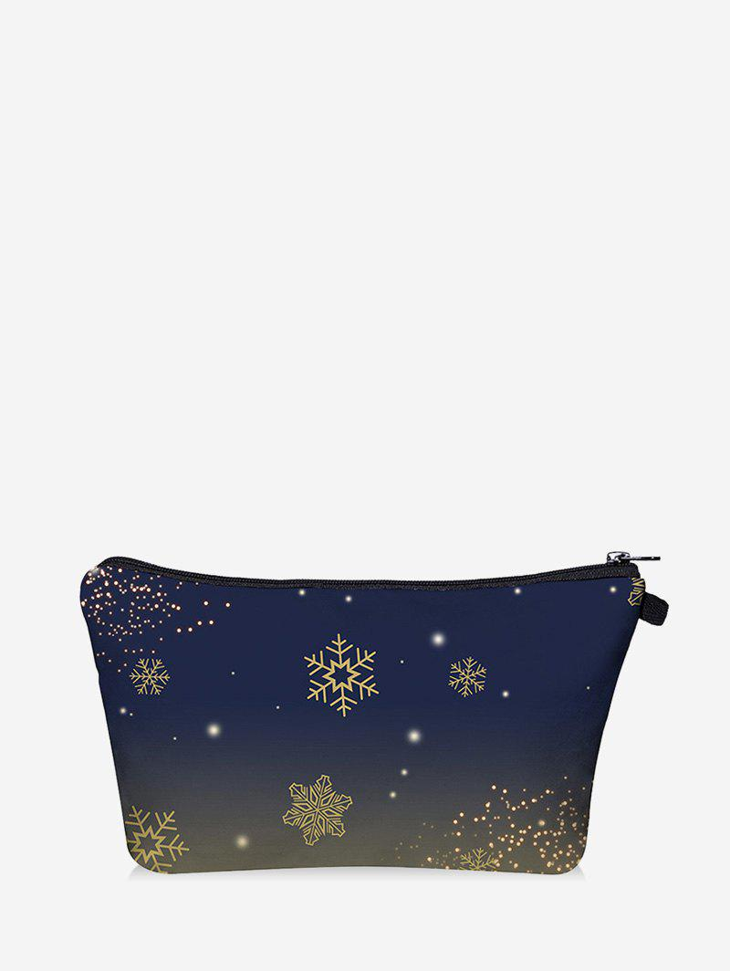 Christmas Snowflake Digital Print Storage Makeup Bag - DARK SLATE BLUE