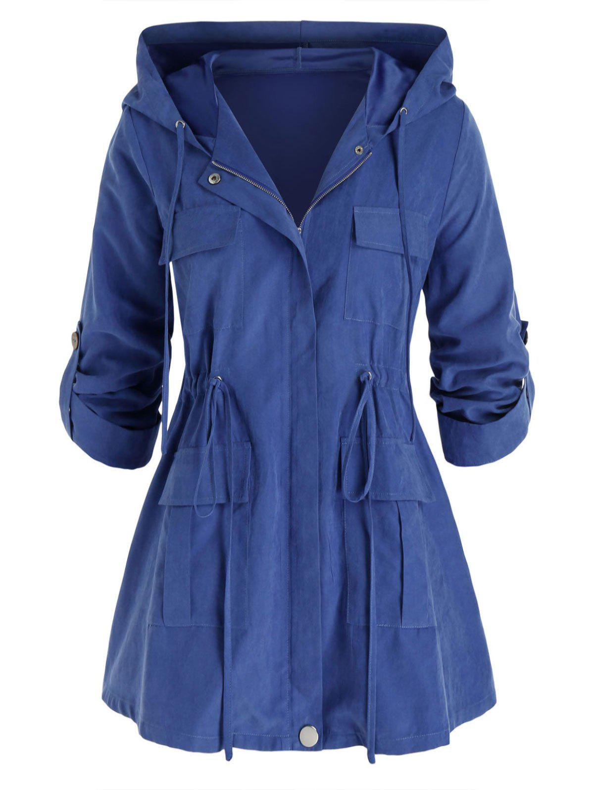 Plus Size Hooded Drawstring Zip Up Cargo Coat - SLATE BLUE 2X