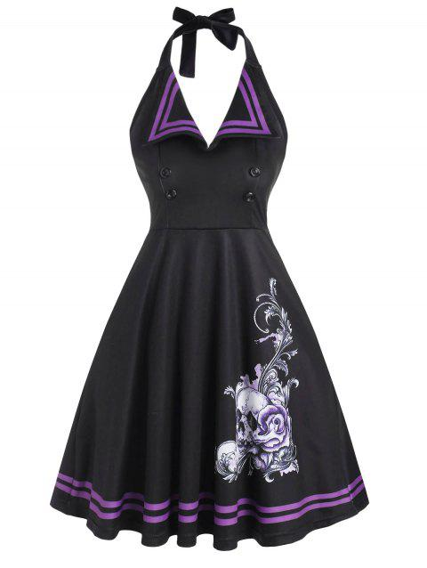 Halloween Halter Skull Floral Vintage Dress
