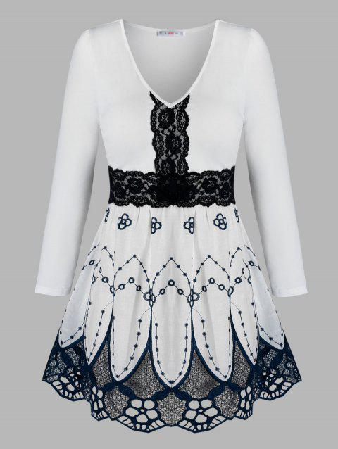 Plus Size Flower Embroidered Lace Insert Blouse