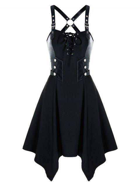 Gothic Lace Up Grommet Handkerchief Dress