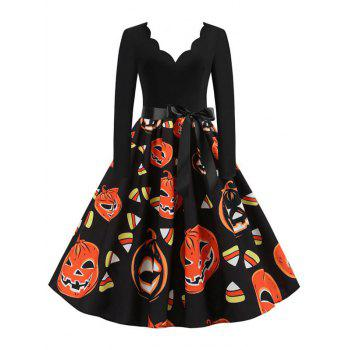 Long Sleeve Scalloped Collar Pumpkin Halloween Dress