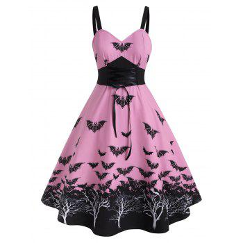 Plus Size Halloween Vintage Bat Print Lace Up Dress