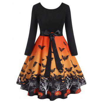Plus Size Halloween Bats Print Vintage Dress