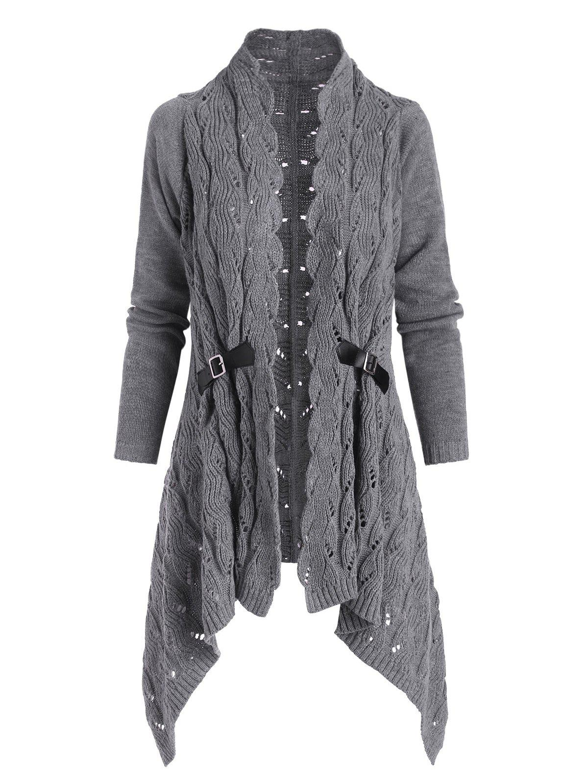 Openwork Buckle Embellished Open Front Cardigan - LIGHT GRAY XL
