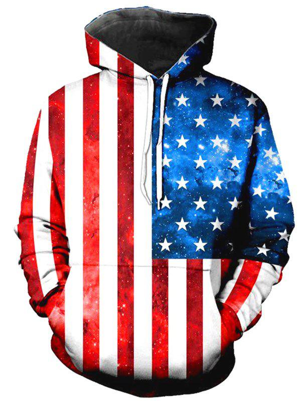 American Flag Print Kangaroo Pocket Patriotic Hoodie - RED XL