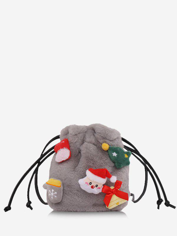 Santa Claus Plush Drawstring Crossbody Bucket Bag - GRAY