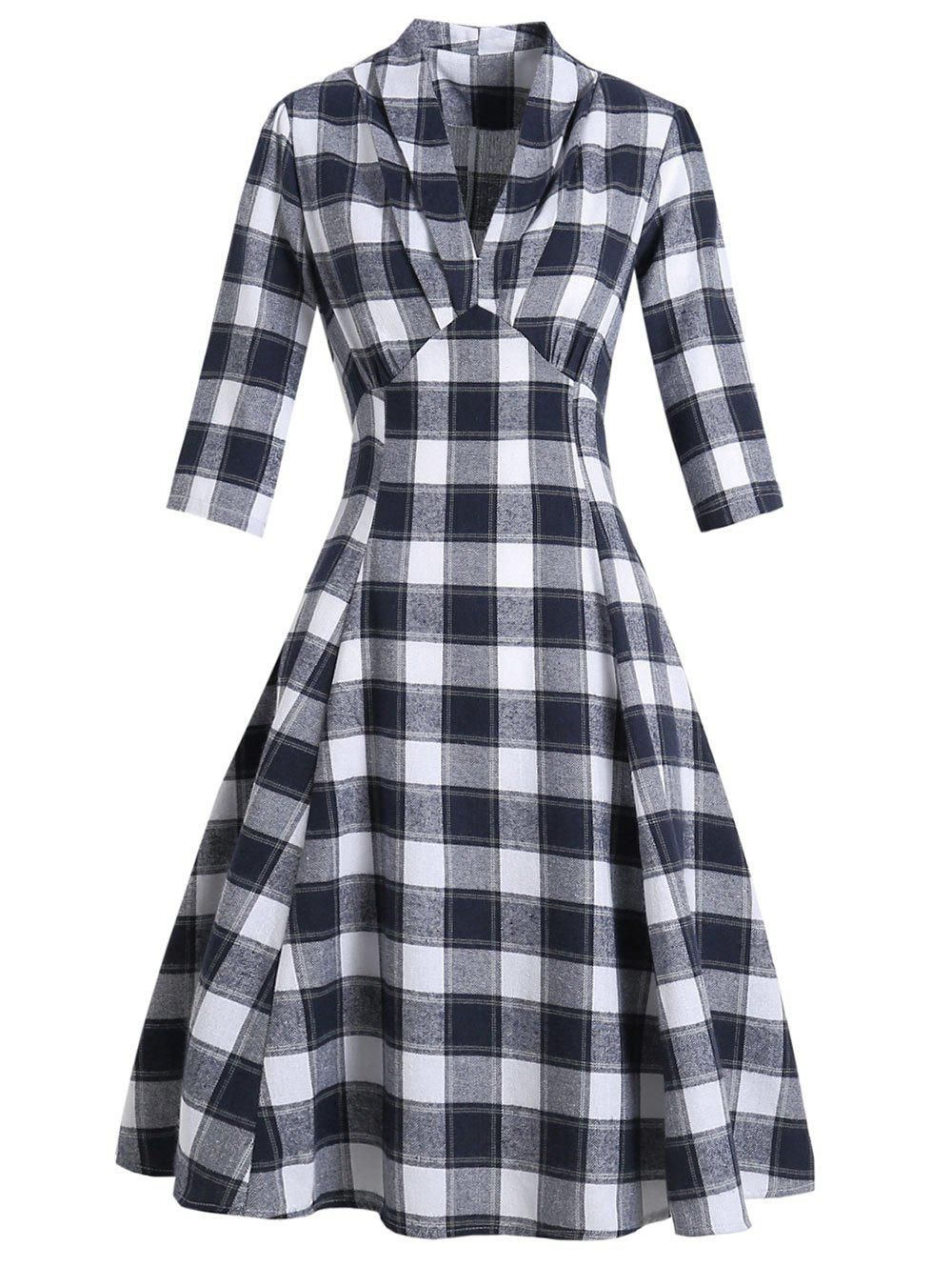 Glen Check Pleated V Neck Dress - DEEP BLUE XL