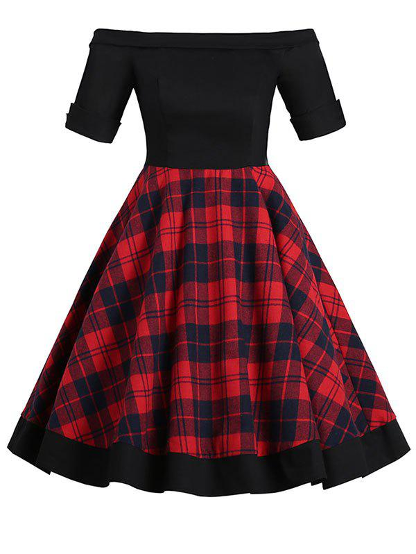 Off Shoulder Foldover Tartan Mini Dress - RED 2XL