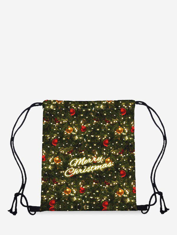 Christmas Digital Print Storage Cinch Bag - DARK FOREST GREEN