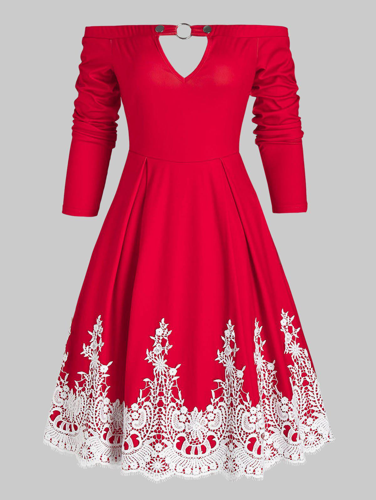 Keyhole Off Shoulder Contrast Lace Dress - RED M