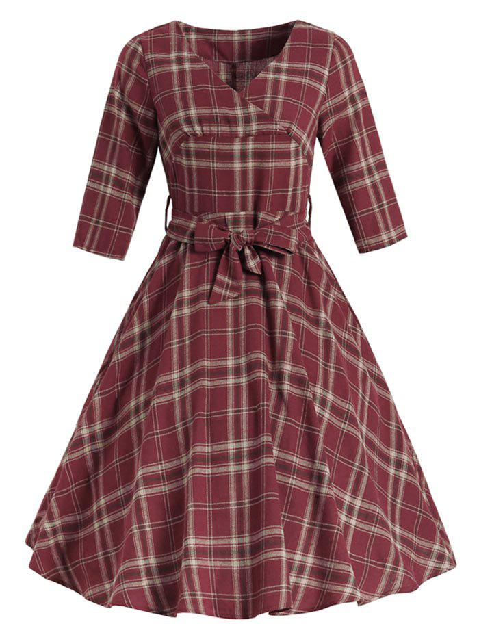 Tartan Belted Surplice Dress - RED 2XL