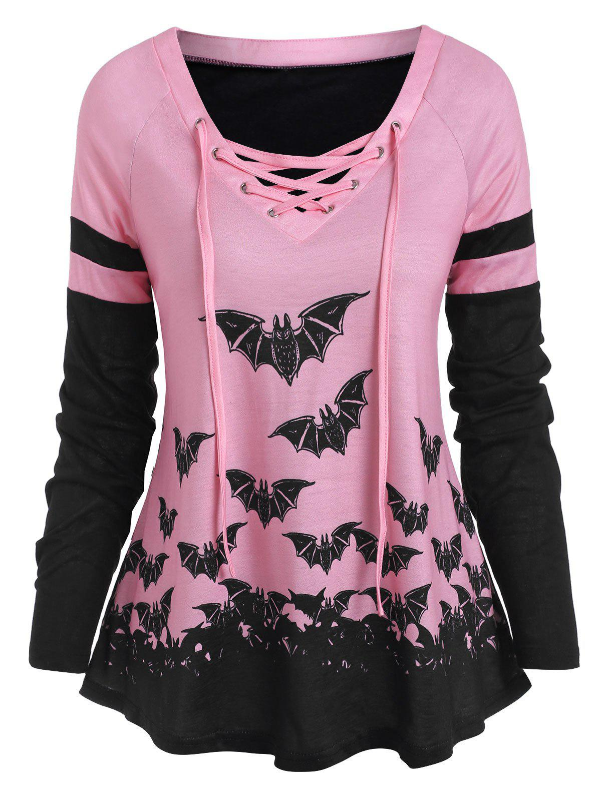 Halloween Bat Print Lace Up Raglan Sleeve T-shirt - LIGHT PINK L