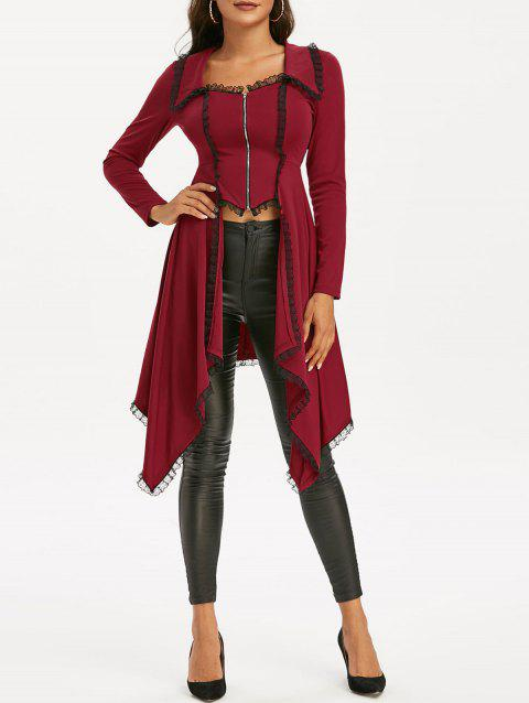 Lace Trim Lace-up Faux Twinset Skirted Coat