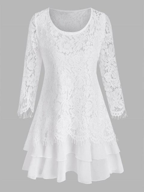 Plus Size Layered Flounce Lace Top