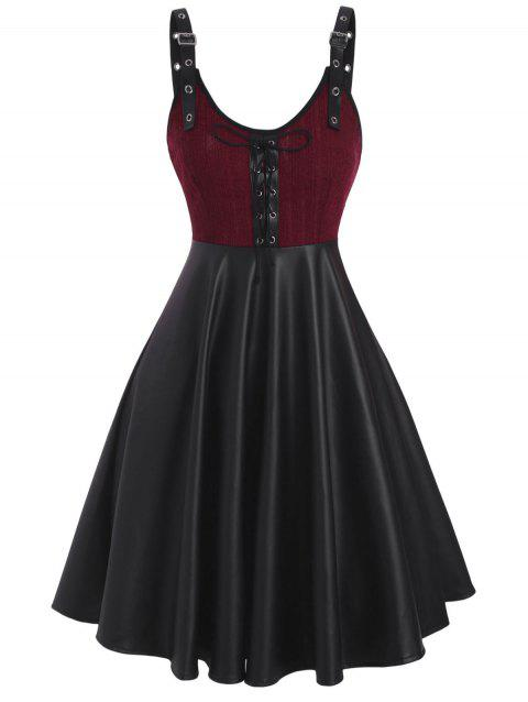 Buckled Lace-up Knit Panel Faux Leather Dress