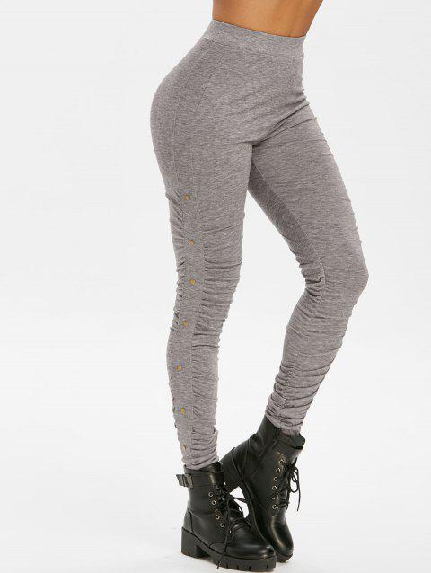 Ruched Rivet Heather High Waisted Leggings