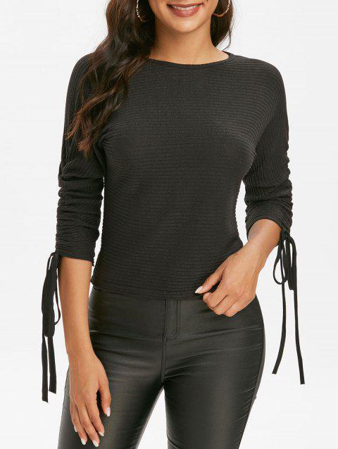 Ribbed Cinched Sleeves Dolman Knitwear