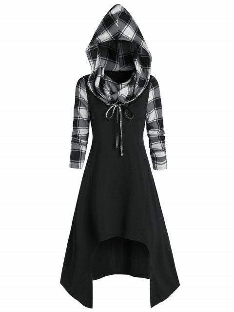Hooded Plaid High Low Convertible Midi Dress