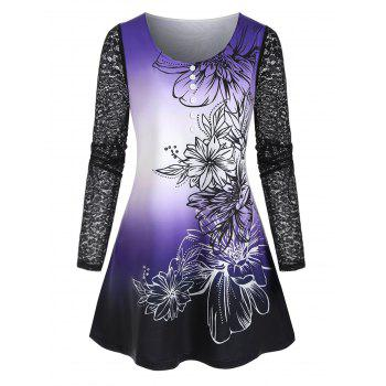 Plus Size Lace Sleeve Ombre Floral Print Tee