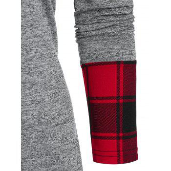 Up Plaid Insert High Low Hoodie