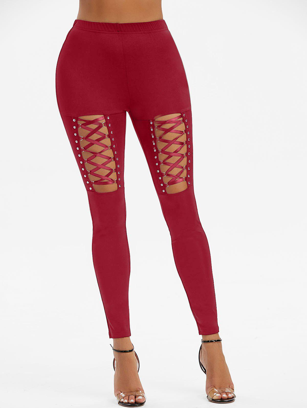 Rivet Detail Lace-up Gothic Leggings - RED WINE L