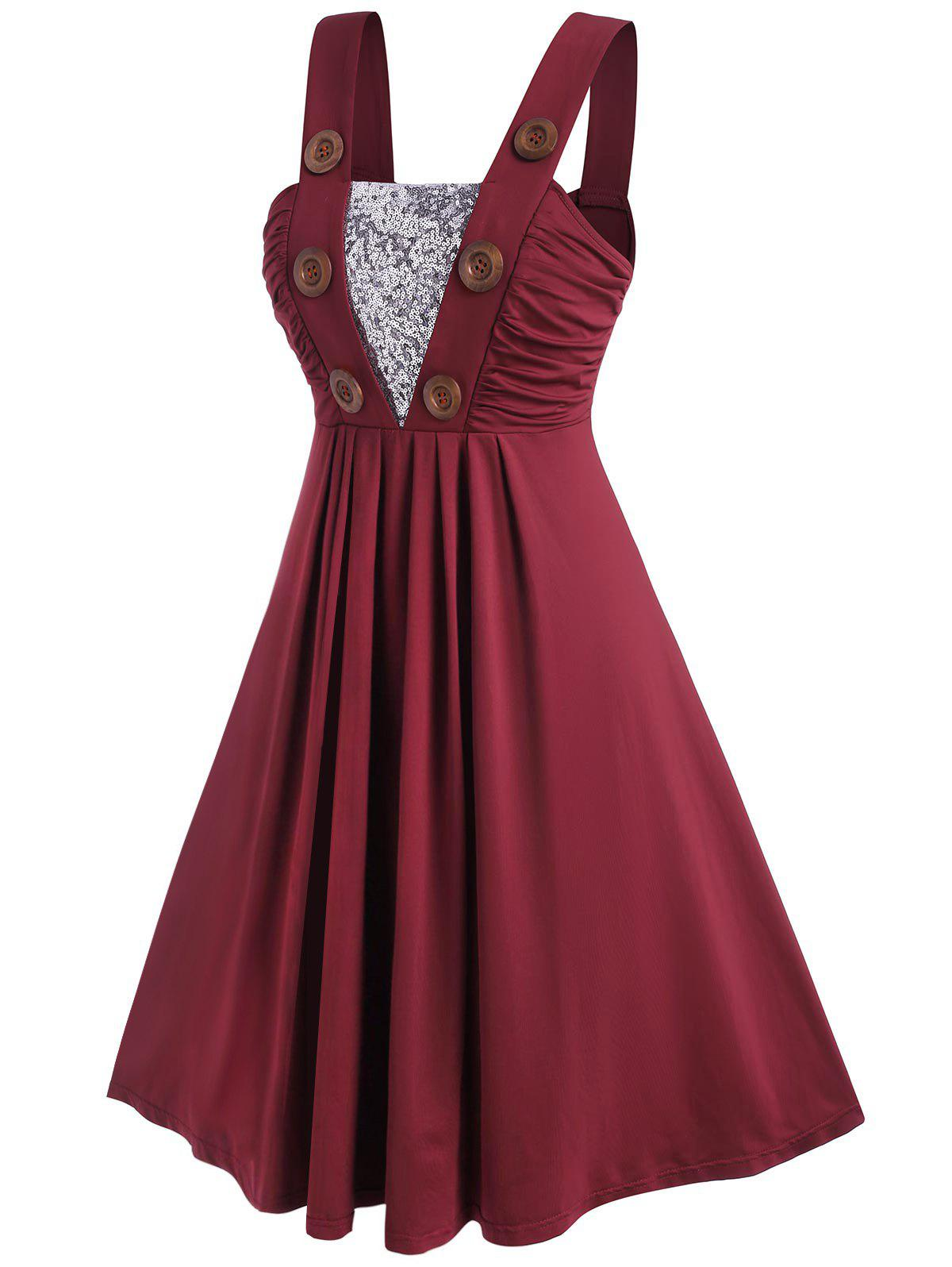Plus Size Mock Button Ruched Sequins Dress - DEEP RED 2X