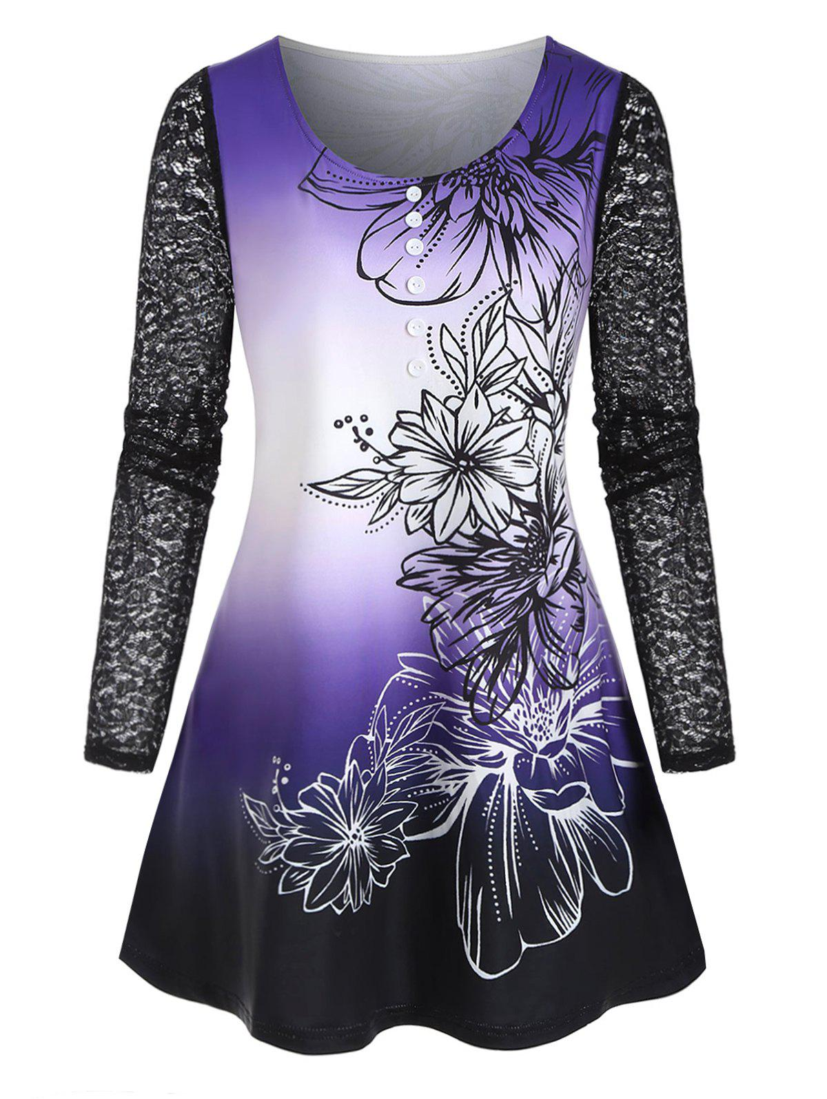 Plus Size Lace Sleeve Ombre Floral Print Tee - PURPLE 1X