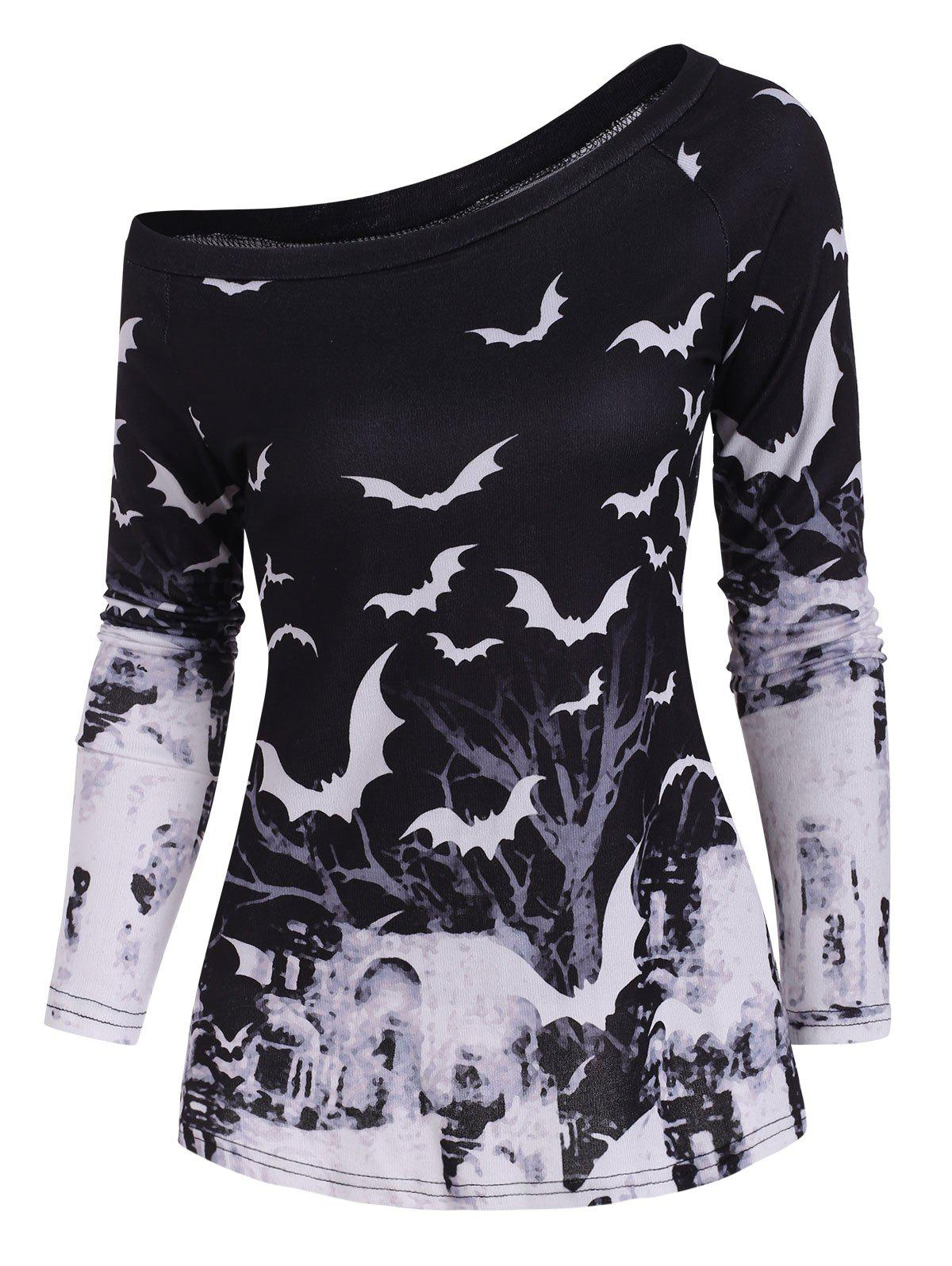 Tree Bat Print One Shoulder Ralgan Sleeve Knitwear - BLACK 2XL