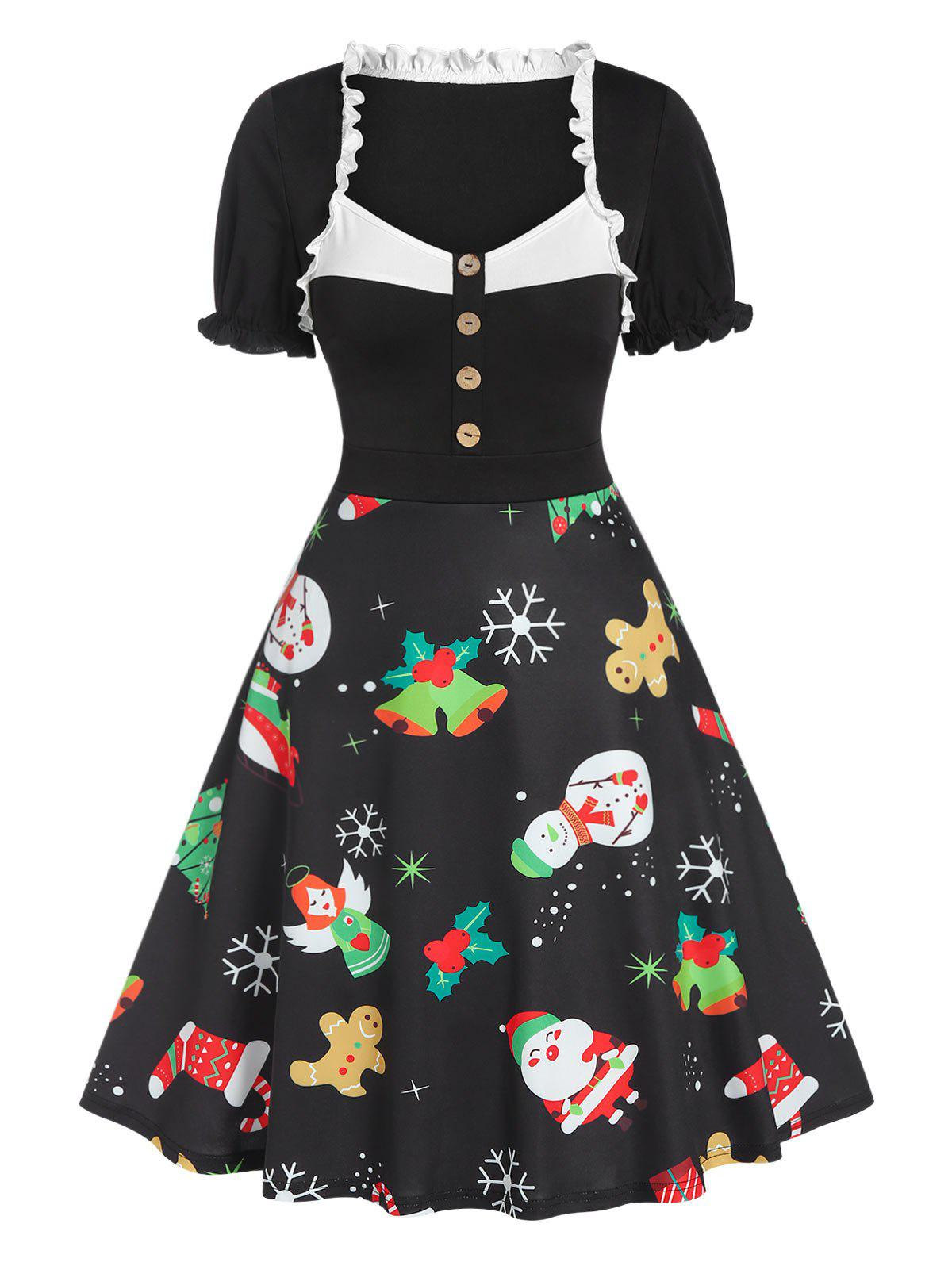 Christmas Printed Ruffles  Knee Length Dress - BLACK 3XL