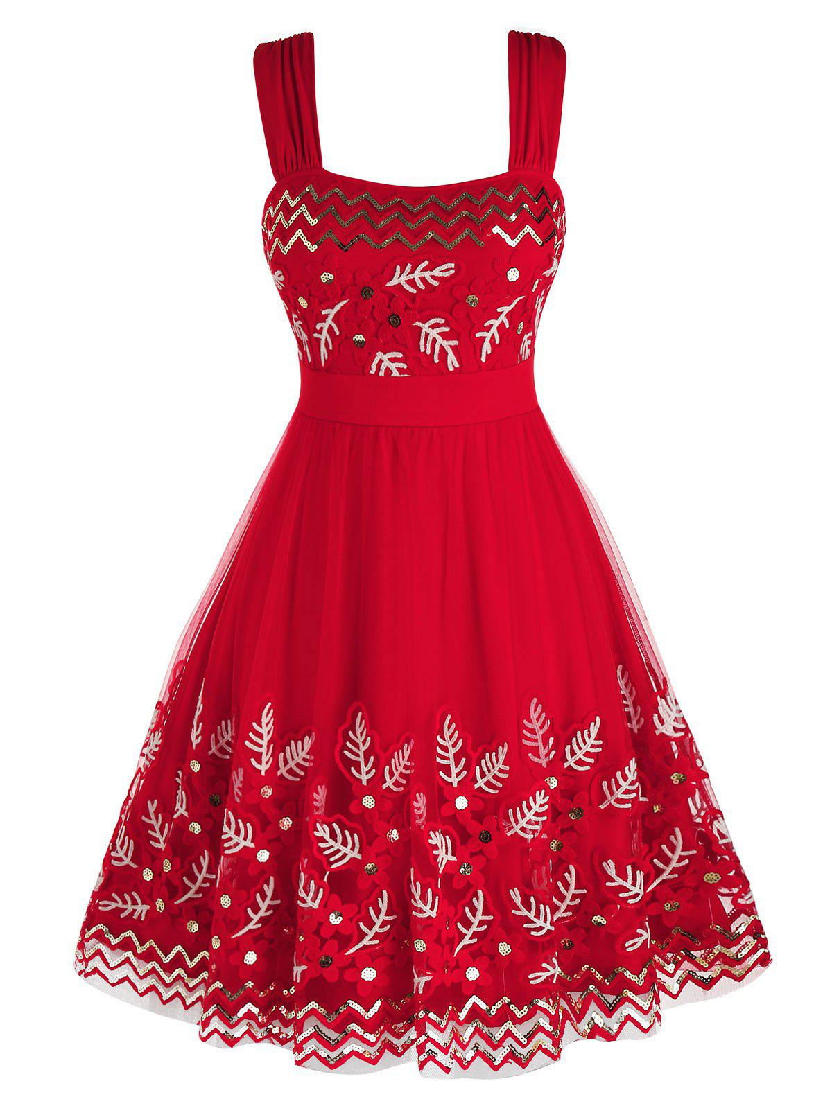 Plus Size Sequined Mesh Embroidered A Line Dress - LAVA RED 2X
