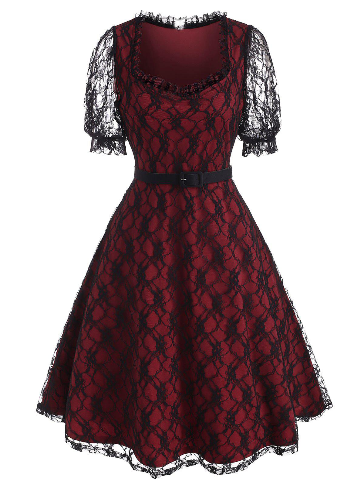 Puff Sleeve Overlay Lace Mid Calf Dress - RED L