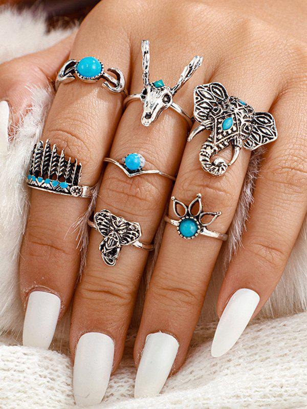 7Pcs Tribal Elephant Turquoise Carved Rings Set - SILVER
