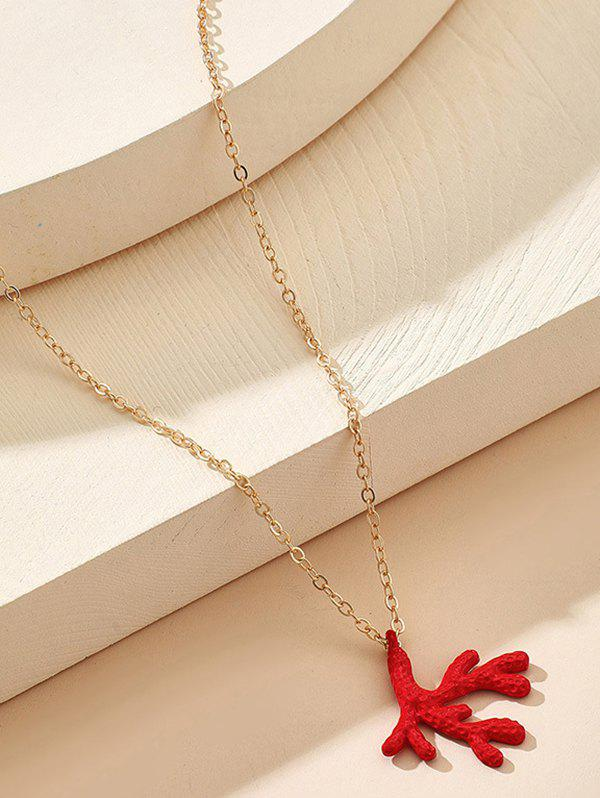 Christmas Antler Pendant Chain Necklace - GOLDEN