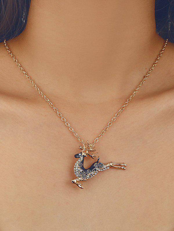 Christmas Elk Rhinestone Pendant Chain Necklace - GOLDEN