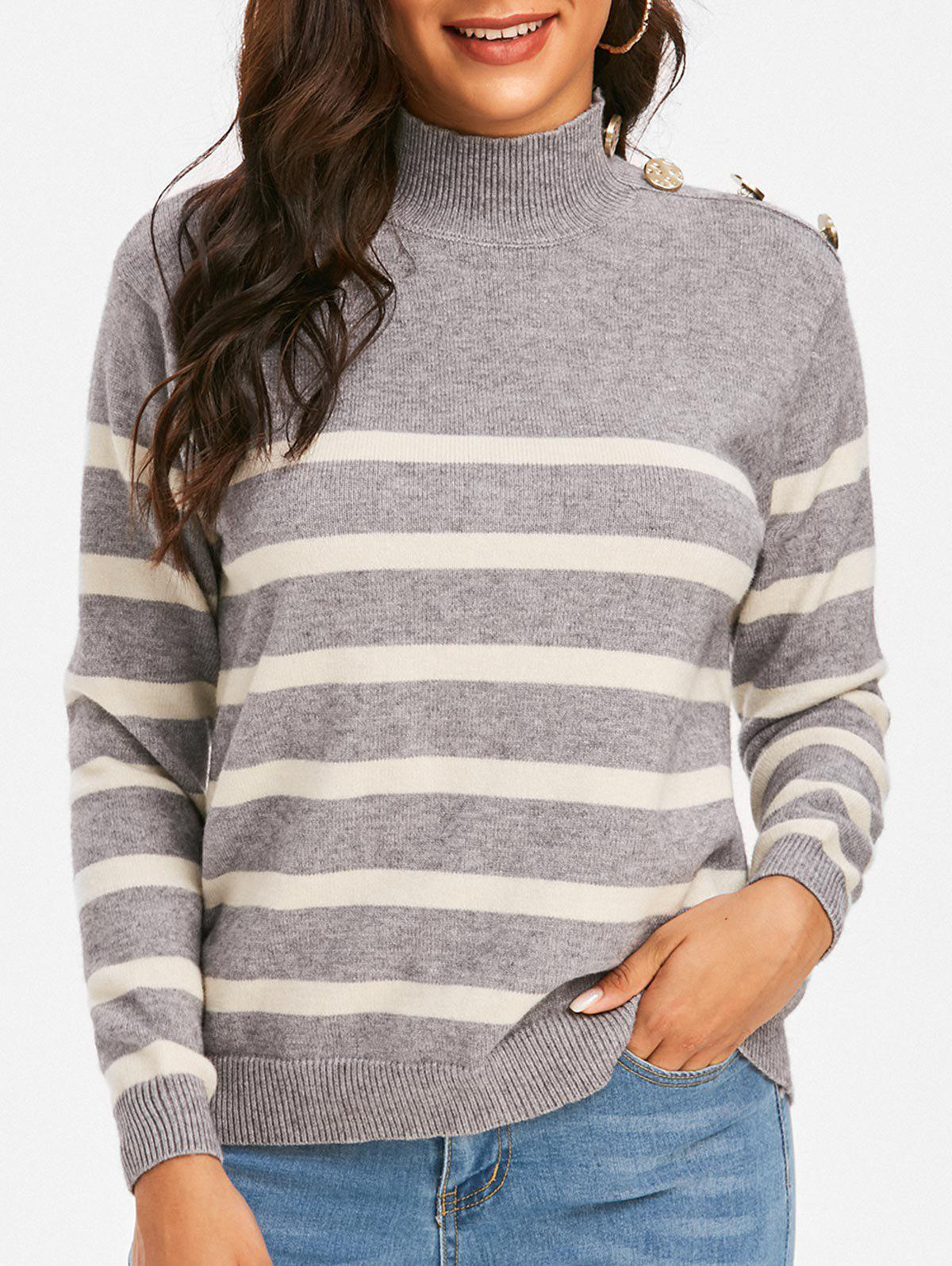 Mock Neck Buttoned Striped Sweater - GRAY XL