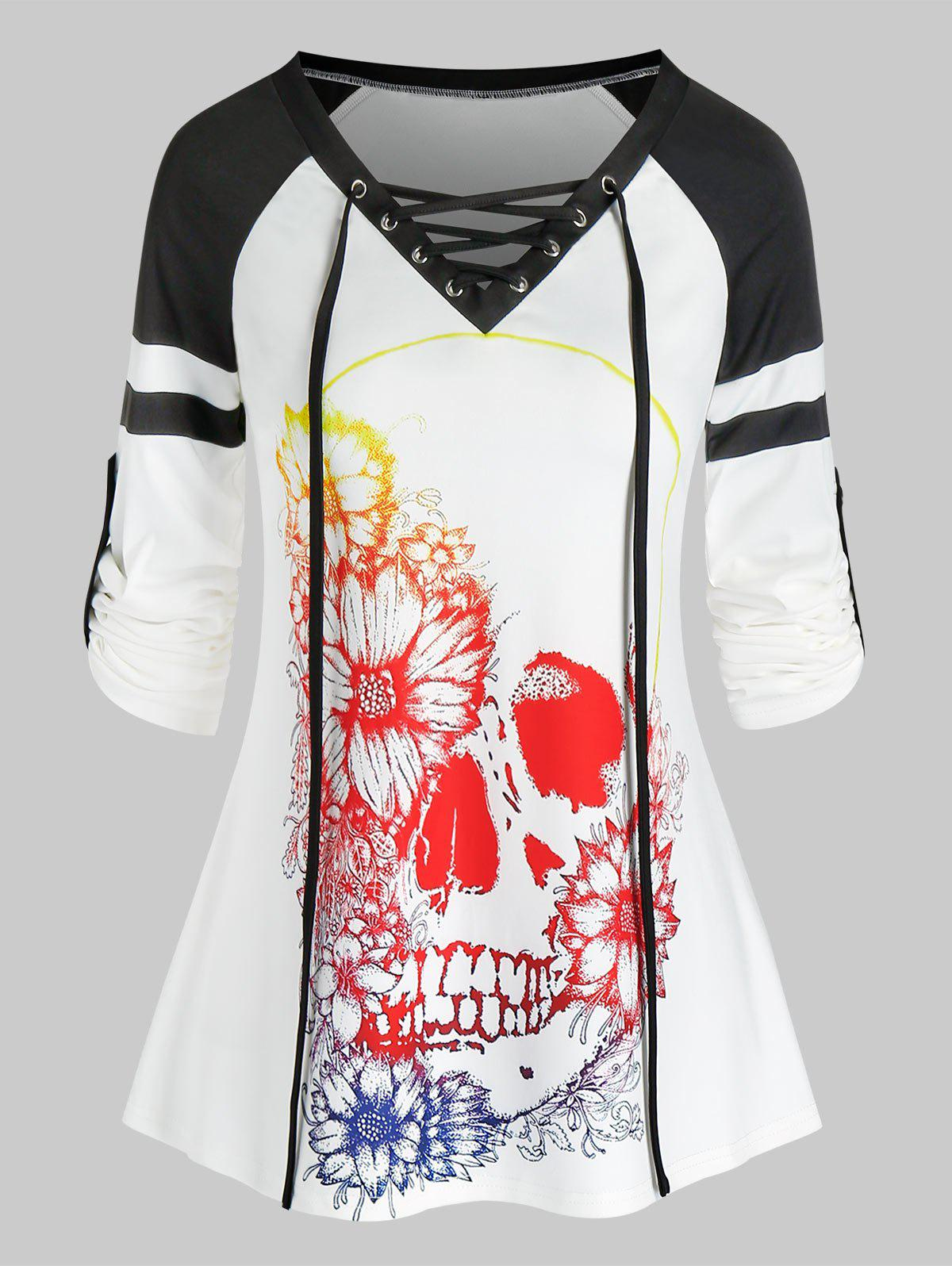 Halloween Skull Flower Print Lace-up Contrast T-shirt - WHITE 3XL