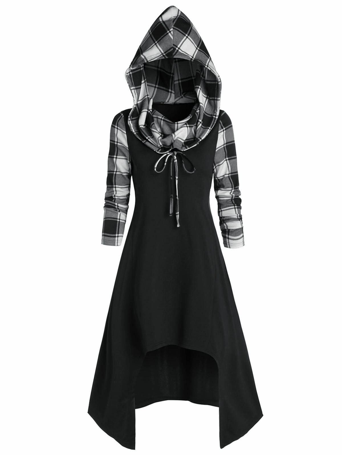 Hooded Plaid High Low Convertible Midi Dress - WHITE M