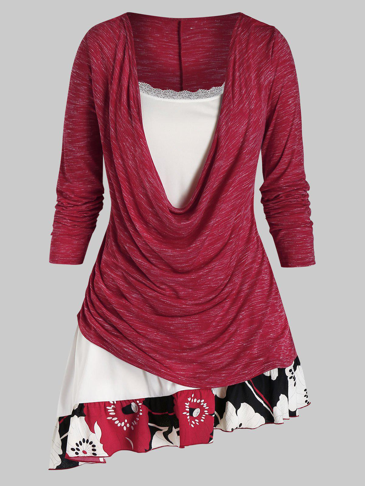 Plus Size Cowl Front Flower Hem Twofer Long Sleeve Tee - RED WINE L