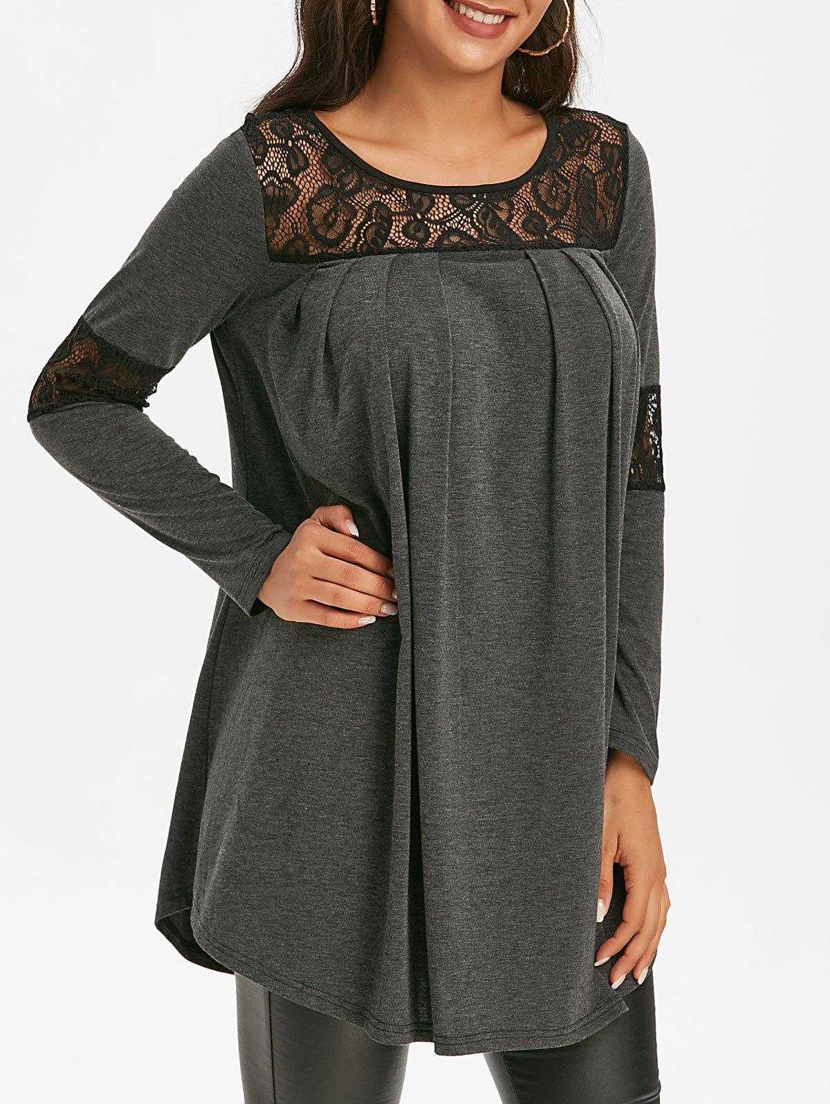 Heathered Lace Insert Tunic T Shirt - ASH GRAY 3XL