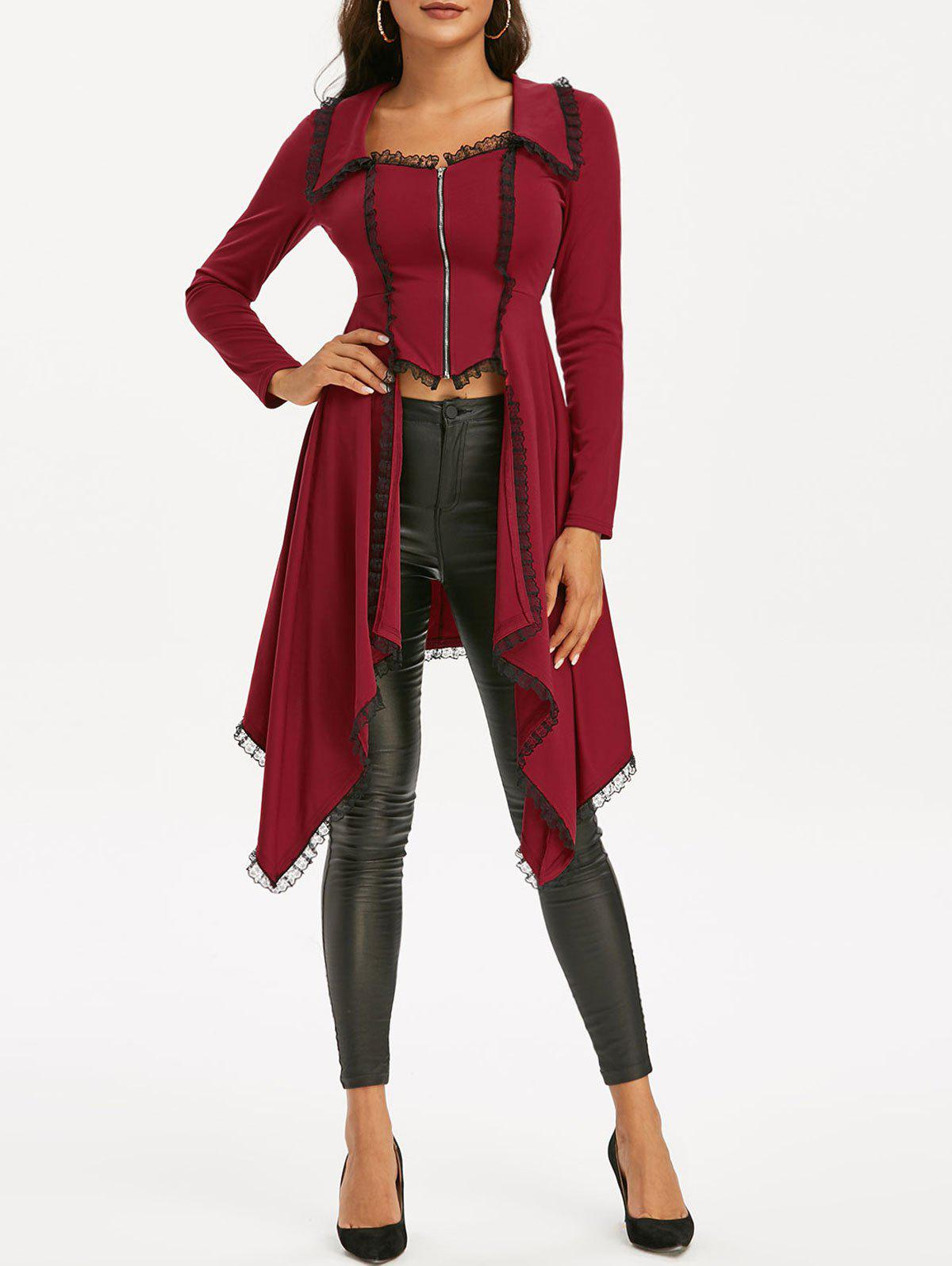Lace Trim Lace-up Faux Twinset Skirted Coat - RED WINE XL