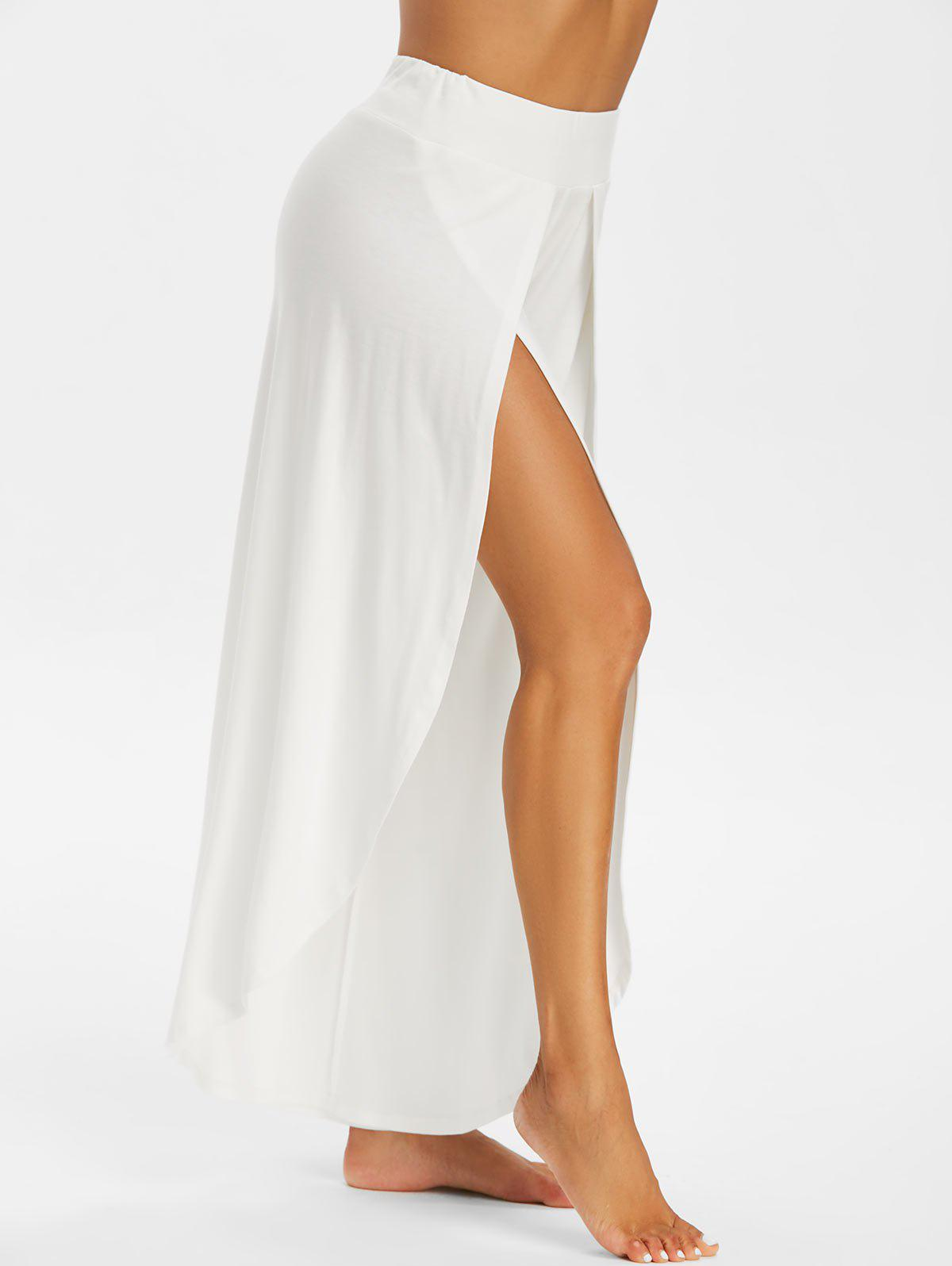High Split Wide Leg Tulip Pants - WHITE 3XL