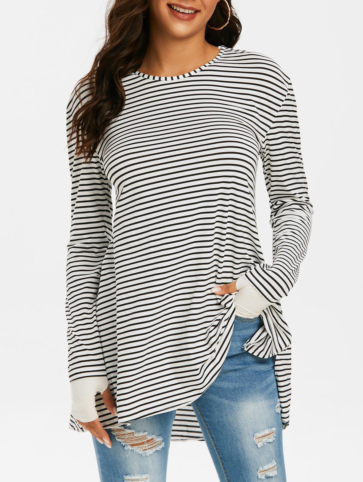 Striped Stepped Hem Side Slit Thumb Hole Tunic Top - WHITE S