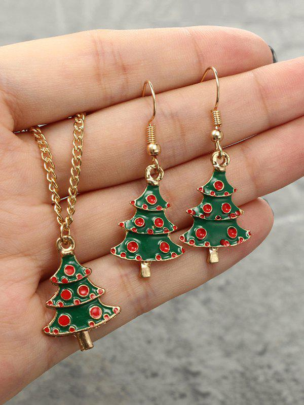 Christmas Tree Pendant Necklace Earrings Suit - GOLDEN