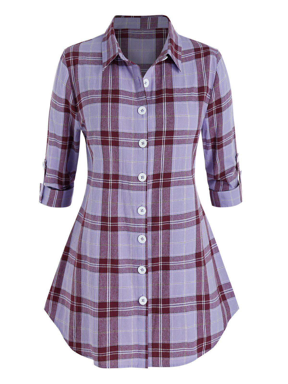 Plus Size Plaid Curved Hem Rolled Up Sleeve Shirt - LILAC 1X