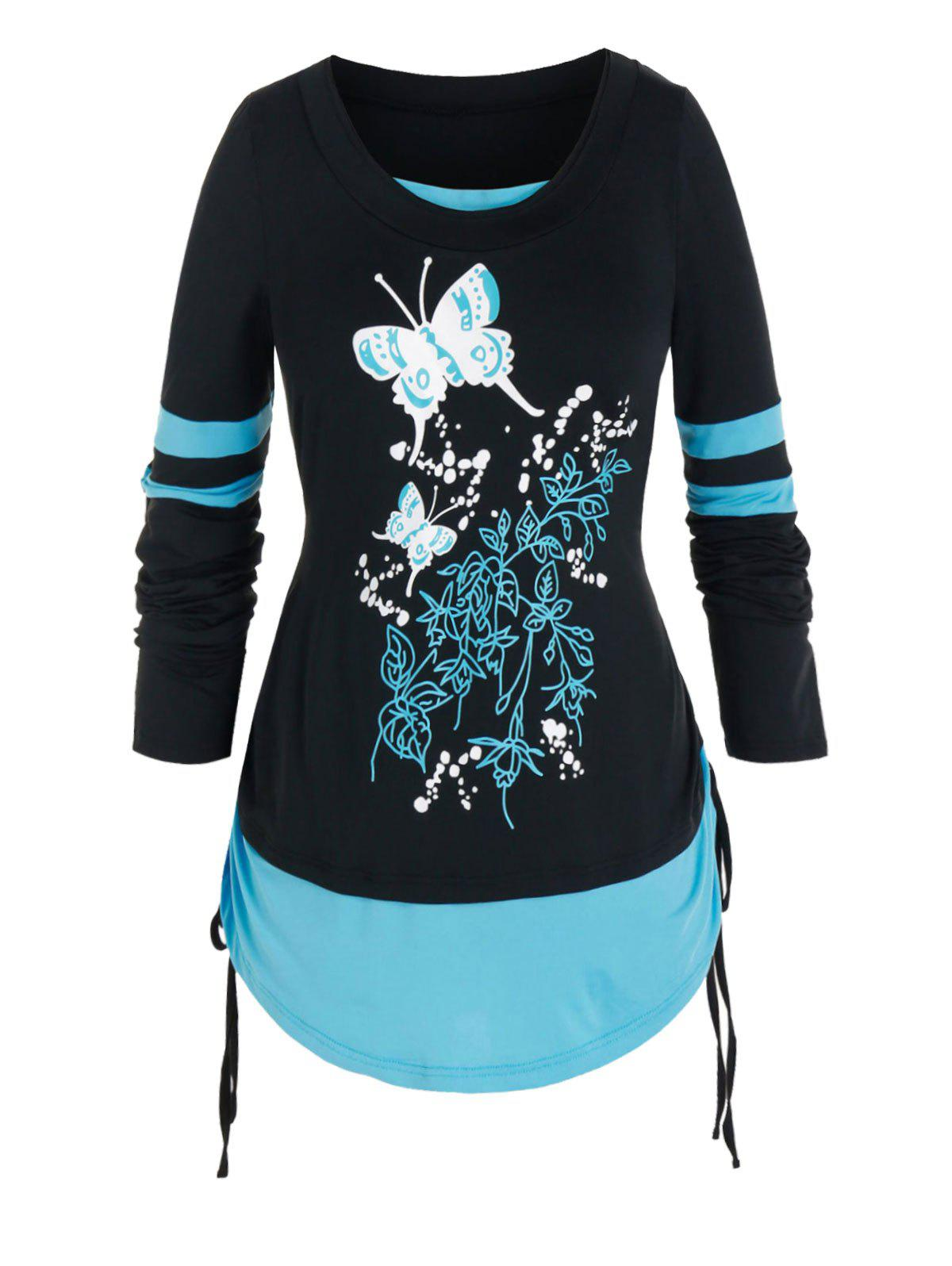 Plus Size Butterfly Twofer Cinched Long Sleeve Tee - BLACK 5X
