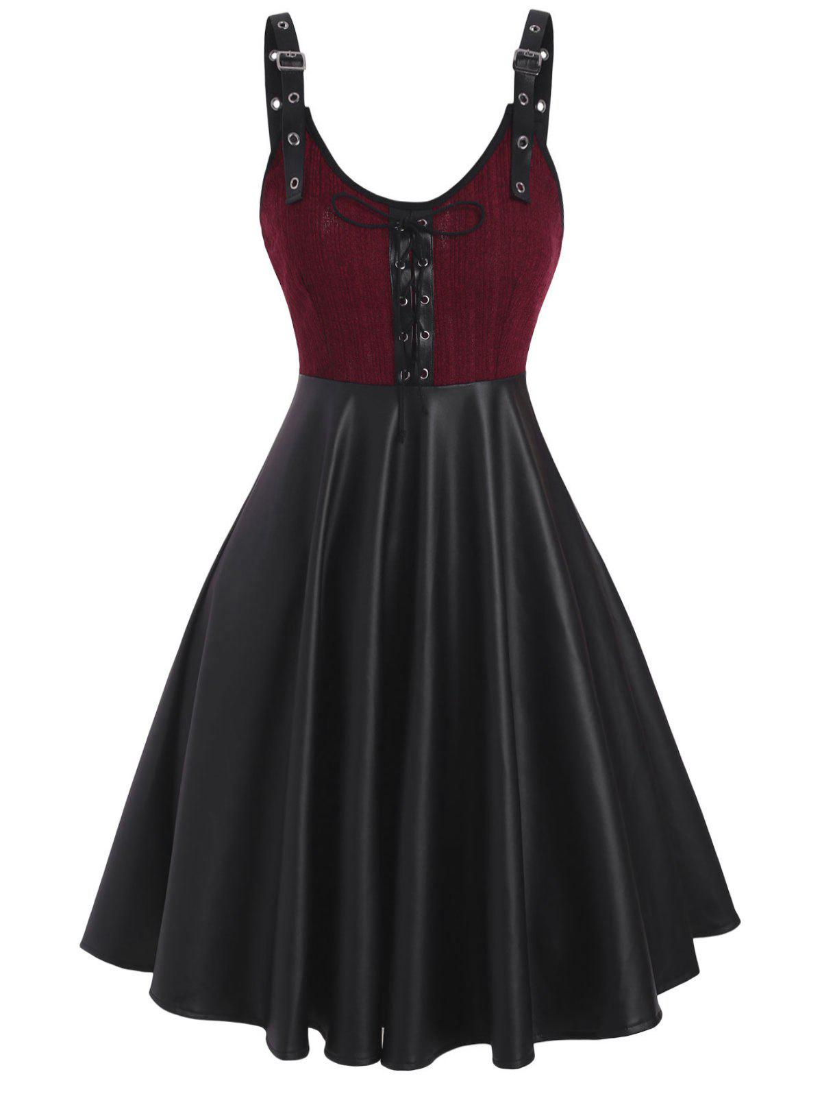 Buckled Lace-up Knit Panel Faux Leather Dress - DEEP RED L