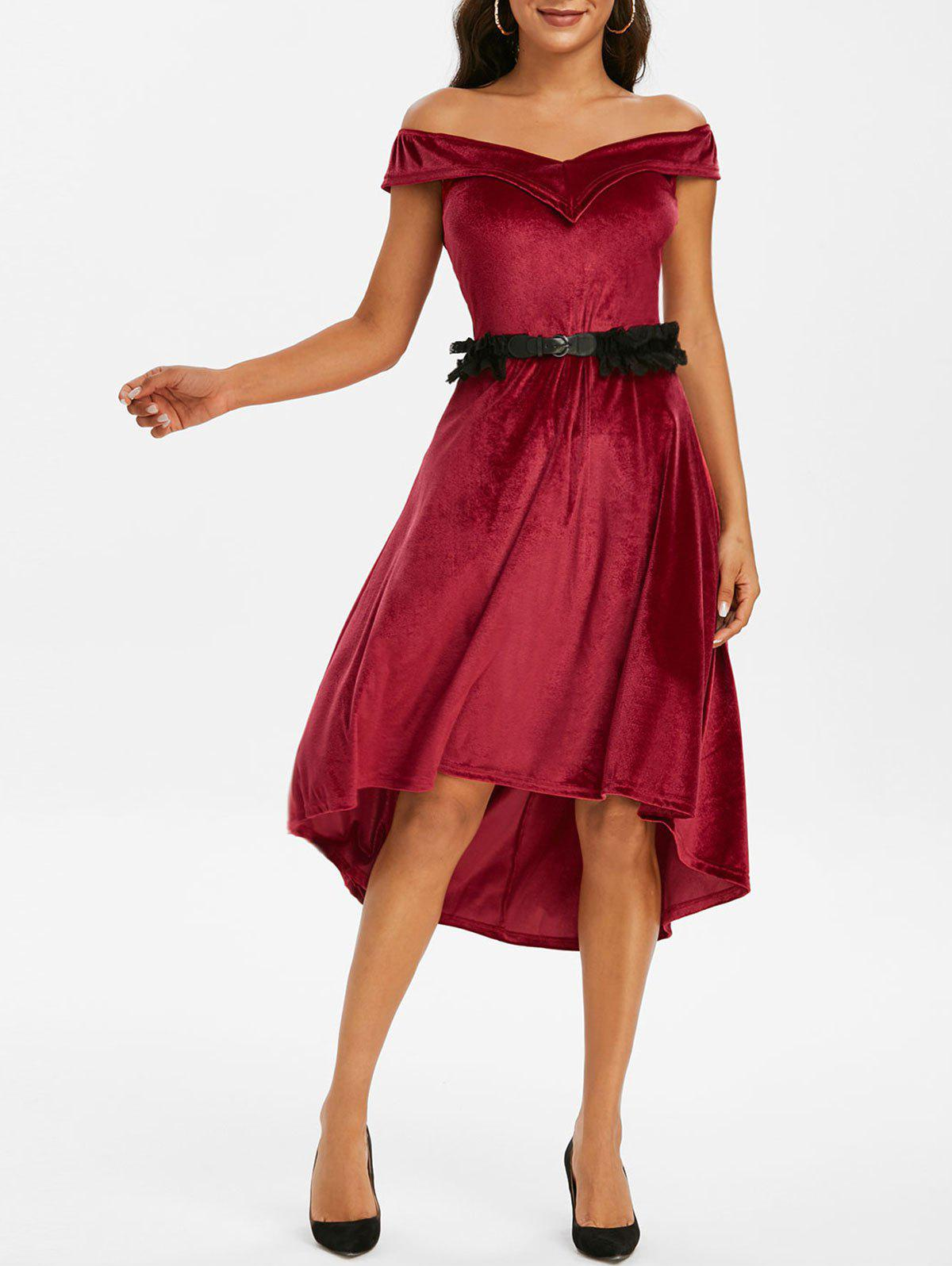 Off The Shoulder Velvet High Low Dress with Lace Belt - DEEP RED 2XL