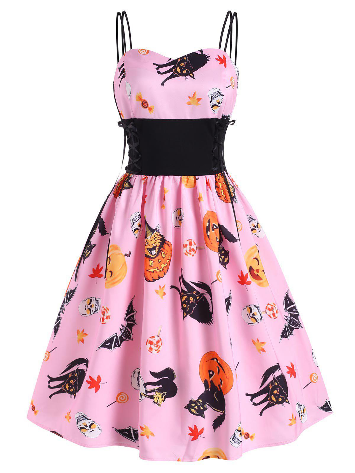 Halloween Pumpkin Bat Skull Print Lace Up Dress - PIG PINK M
