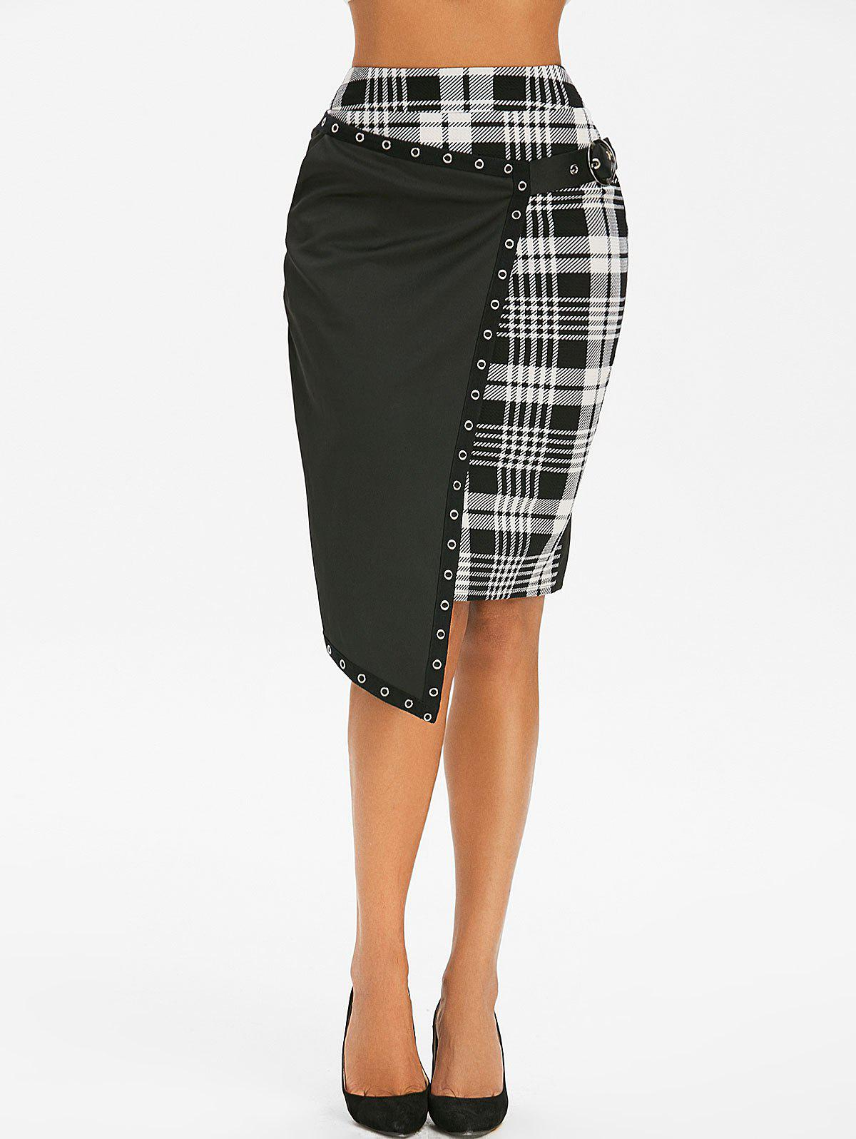 Gothic Plaid Asymmetric Eyelet Buckle Skirt - BLACK 2XL